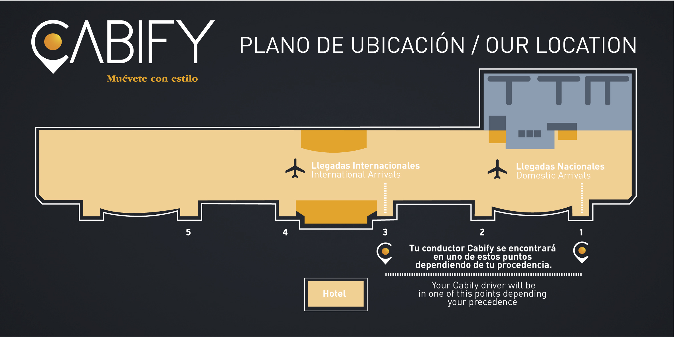 Cabify's airport pick up points (LIMA)