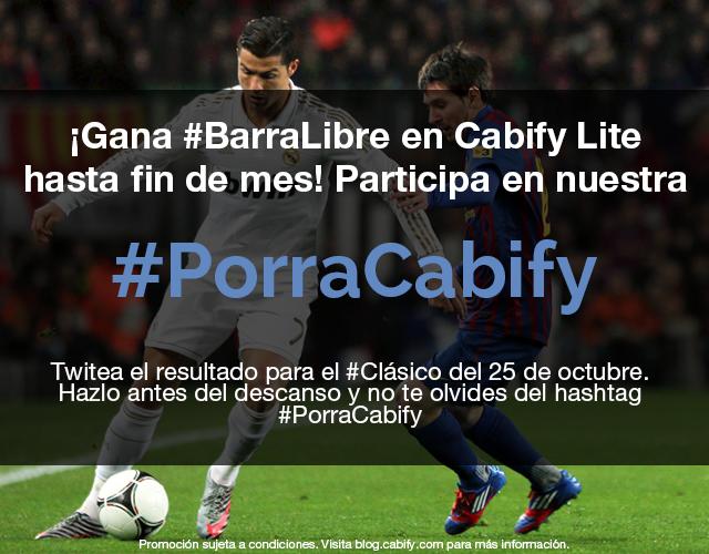 ¡Gana #BarraLibre en Cabify hasta fin de mes con nuestra #PorraCabify!